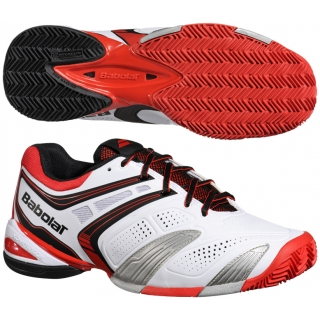 Babolat Men's V-Pro 2 Clay Tennis Shoes (White/ Red)