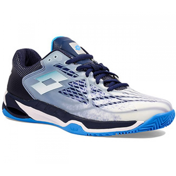 Lotto Men's Mirage 100 Clay Tennis Shoes (All White/Diva Blue/Navy)