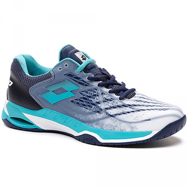Lotto Men's Mirage 100 Speed Tennis Shoes (All White/Ceramic Blue/Navy Blue)
