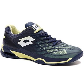 Lotto Men's Mirage 100 Speed Tennis Shoes (Navy Blue/Yellow Neon/All White)