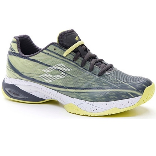 Lotto Men's Mirage 300 Speed Tennis Shoes (Asphalt/All White/Yellow Neon)