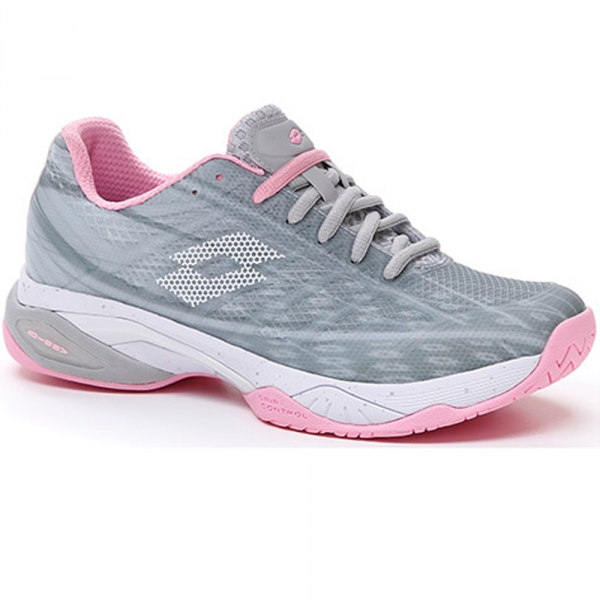 Lotto Women's Mirage 300 Speed Tennis Shoes (Silver Metal 2/All White/Pink)