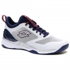 Lotto Men's Mirage 200 Speed Tennis Shoes (All White/Navy Blue/Mauve Wine) -