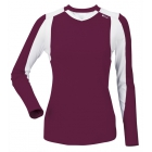 DUC Roll Women's Longsleeve (Maroon/ White) - DUC Women's Team Tennis Tops