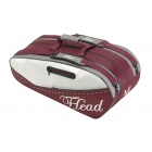 Head Maria Sharapova Combi Tennis Bag (Maroon/ White/ Grey) - 3 Racquet Tennis Bags