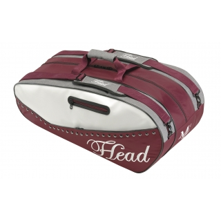 Head Maria Sharapova Combi Tennis Bag (Maroon/ White/ Grey)
