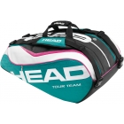 Head Tour Team Monstercombi Tennis Bag (Teal/ Wht/ Pnk) - Tennis Racquet Bags