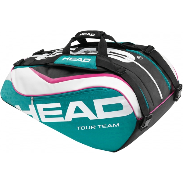 Head Tour Team Monstercombi Tennis Bag (Teal/ Wht/ Pnk)