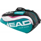 Head Tour Team Combi Tennis Bag (Teal/ Wht/ Pnk) - Tennis Racquet Bags