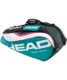 Head Tour Team Combi Tennis Bag (Teal/ Wht/ Pnk) - 6 Racquet Tennis Bags