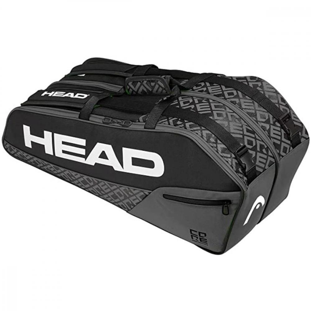 283600-BKGR HEAD Core 6R Combi Tennis Racquet Bag (Black/Grey)