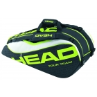Head Extreme Combi Tennis Bag (Black/ Green/ White) - 7 Racquet Tennis Bags