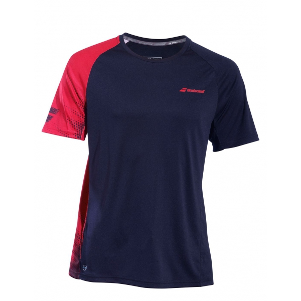 Babolat Boy's Performance Crew Neck Tennis Tee (Black/Salsa)