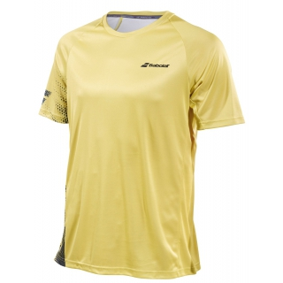 Babolat Boy's Performance Crew Neck Tennis Tee (White/Dark Yellow)