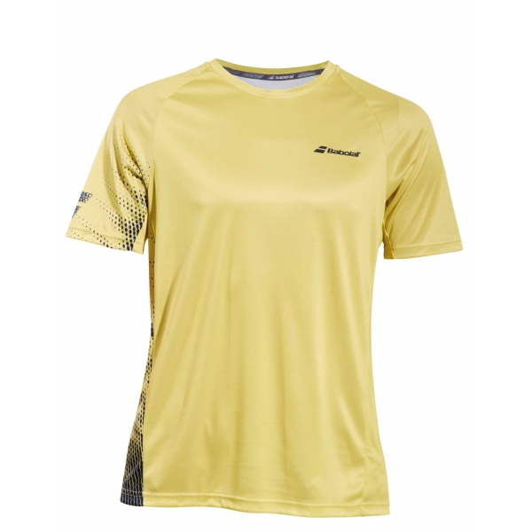 Babolat Boy's Performance Crew Neck Tennis Tee (Dark Yellow/Black)