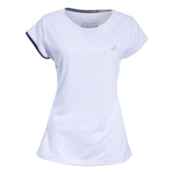 Babolat Girl's Performance Cap Sleeve Tennis Top (White/Silver)