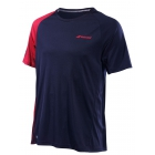 Babolat Men's Performance Crew Neck Tennis Tee (Black/Salsa) - Babolat Tennis Apparel