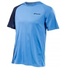 Babolat Men's Performance Crew Neck Tennis Tee (Parisian Blue/Black) - Men's Tennis Apparel