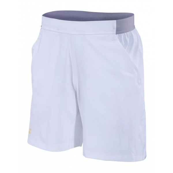 Babolat Men's Performance 7 Inch Tennis Short (White/Dark Yellow)