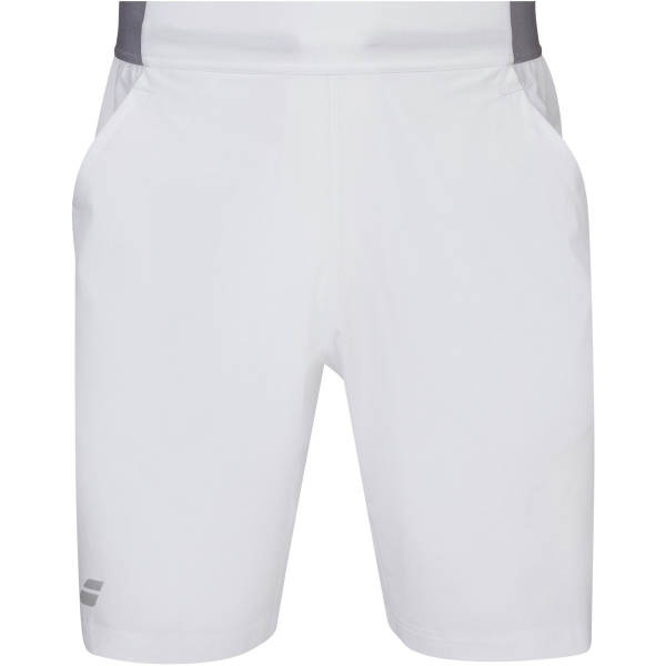 Babolat Men's Compete Tennis XLong Shorts w/ 9 Inch Inseam & Performance Polyester (White/White)