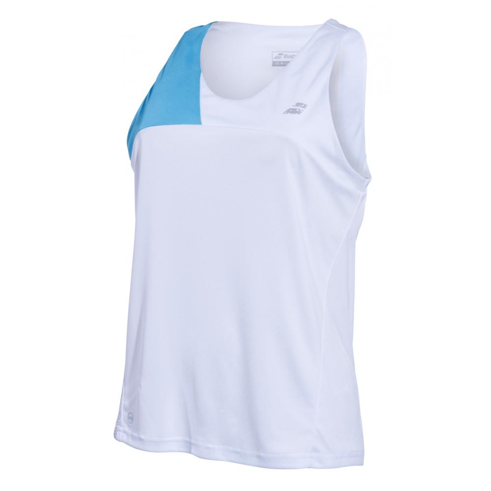 Babolat Women's Performance Tennis Tank Top (White/Horizon Blue)