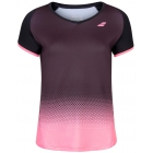 Babolat Women's Compete Cap Sleeve Tennis Top w/ Fiber-Dry Polyester (Black/Geranium Pink) -