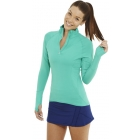 Bloq-UV Mock Zip Long Sleeve Top (Green) - Women's Tennis Apparel