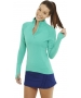 Bloq-UV Mock Zip Long Sleeve Top (Green) - Bloq-UV Tennis Apparel