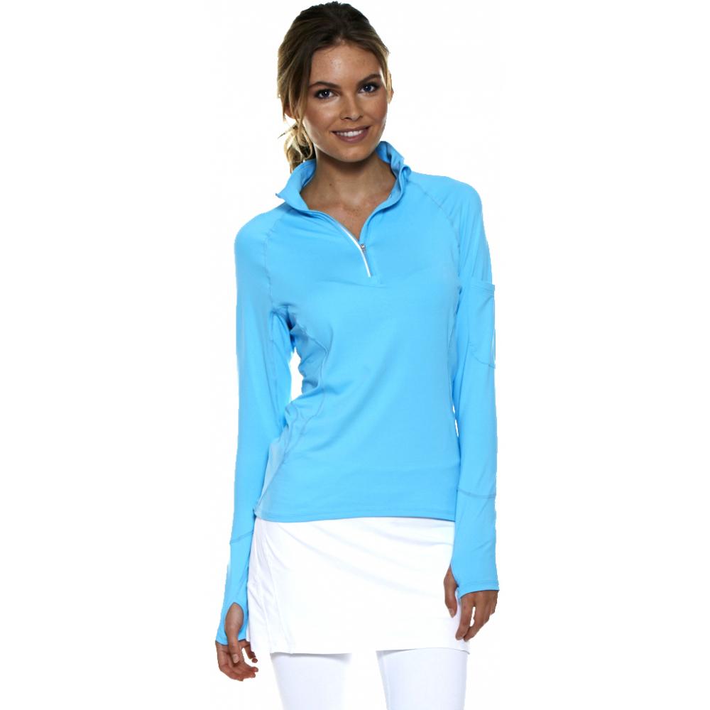 Bloq-UV Mock Zip Long Sleeve Top (Lt Turquoise)