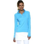 Bloq-UV Mock Zip Long Sleeve Top (Lt Turquoise) - Women's Tops Long-Sleeve Shirts Tennis Apparel