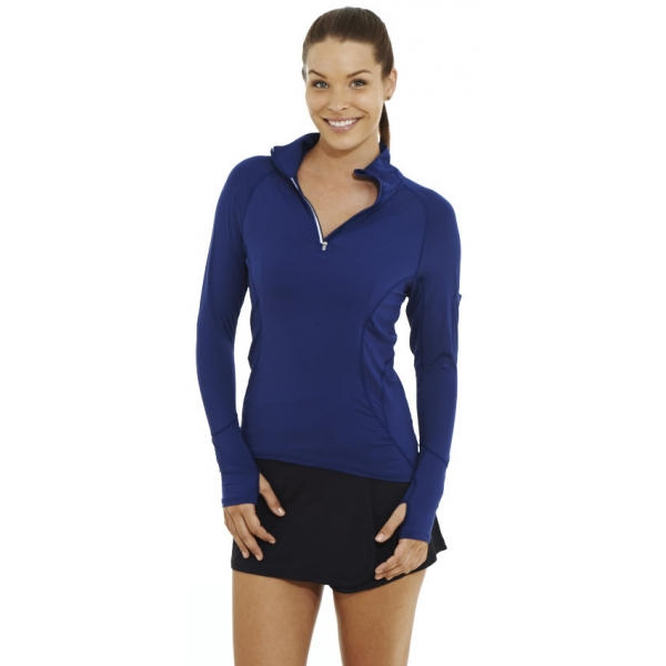 Bloq-UV Mock Zip Long Sleeve Top (Navy)