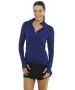 Bloq-UV Mock Zip Long Sleeve Top (Navy) - Women's Warm-Ups