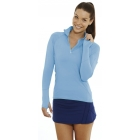 Bloq-UV Mock Zip Long Sleeve Top (Ocean Blue) - Women's Tops Long-Sleeve Shirts Tennis Apparel