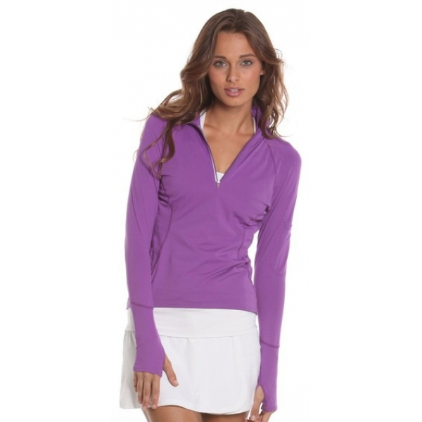 Bloq-UV Mock Zip Long Sleeve Top (Purple)
