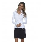 Bloq-UV Mock Zip Long Sleeve Top (White) - Women's Outerwear Warm-Ups Tennis Apparel