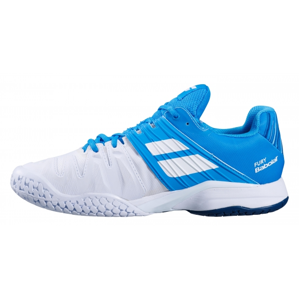 Babolat Men's Propulse Fury All Court Tennis Shoes (White/Blue Aster)