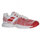 Babolat Women's Propulse Blast All Court Tennis Shoes (White/Hibiscus) - Performance Tennis Shoes