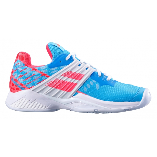 Babolat Women's Propulse Fury All Court Tennis Shoes (Sky Blue/Pink)
