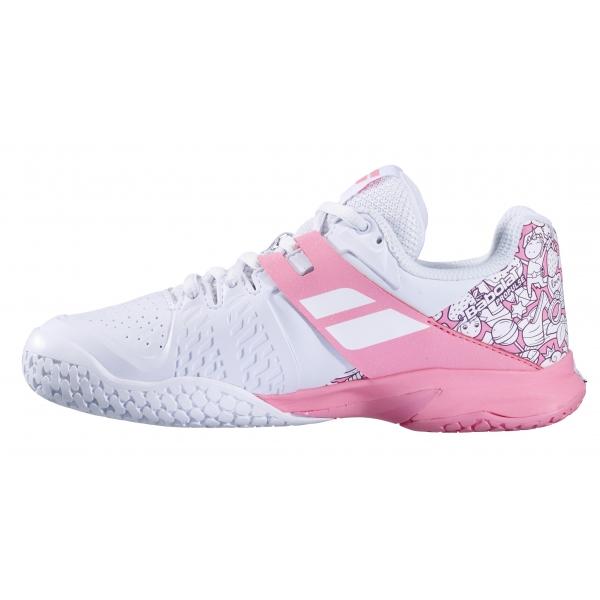 Babolat Junior Propulse All Court Tennis Shoes (White/Geranium Pink)