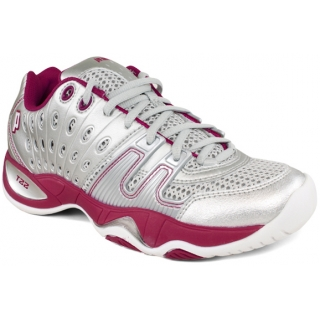 Prince Women's T22 Tennis Shoe (Silver/ Berry)