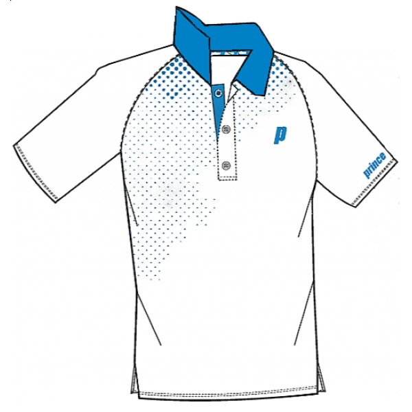 Prince Men's Graphic Polo (White/Blue)