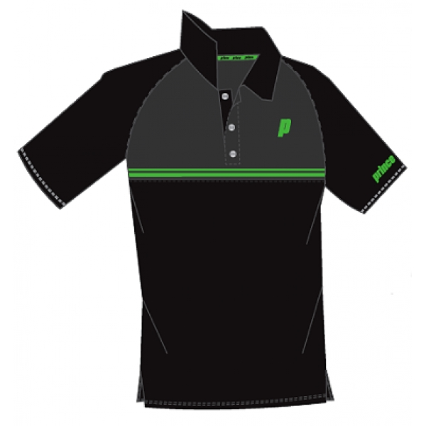 Prince Men's Stripe Polo (Black/Grey/Green)