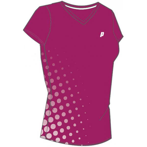Prince Women's V-Neck Tee (Berry/ White)