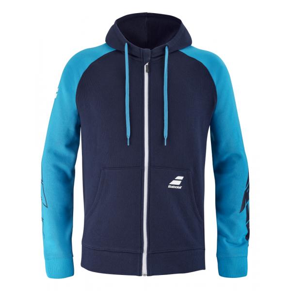 4US21121X-4086 Babolat Men's Drive Hooded Tennis Jacket (Drive Blue)