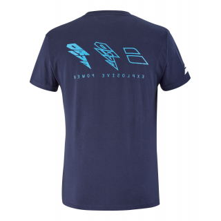 4US21441X-4086 Babolat Men's Drive Cotton Tennis Tee (Drive Blue)