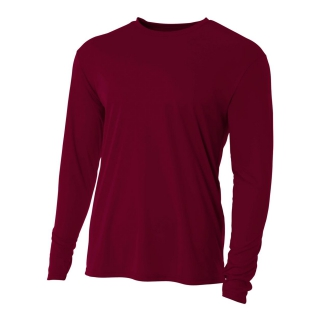 A4 Men's Performance Long Sleeve Crew (Maroon)