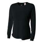 A4 Women's Performance Long Sleeve Crew (Black) - Women's Tennis Apparel