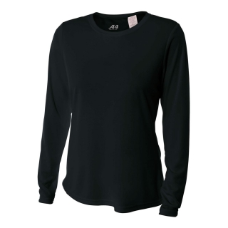 A4 Women's Performance Long Sleeve Crew (Black)
