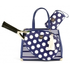 Court Couture Karisa Vintage Tennis Bag (Navy Stripes & Dots) - Court Couture