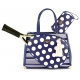 Court Couture Karisa Vintage Tennis Bag (Navy Stripes & Dots) - Designer Tennis Bags - Luxury Fabrics and Ultimate Functionality